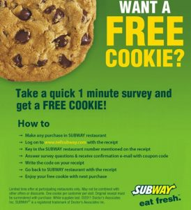 Subway Free Cookie Survey