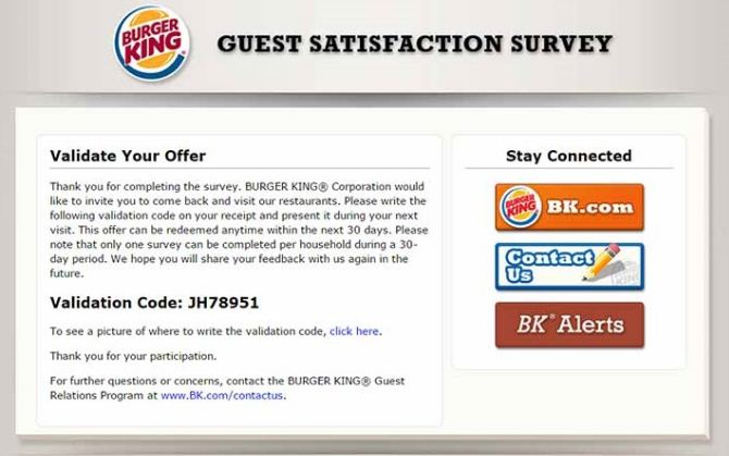 Burger King Free Whopper Survey Code