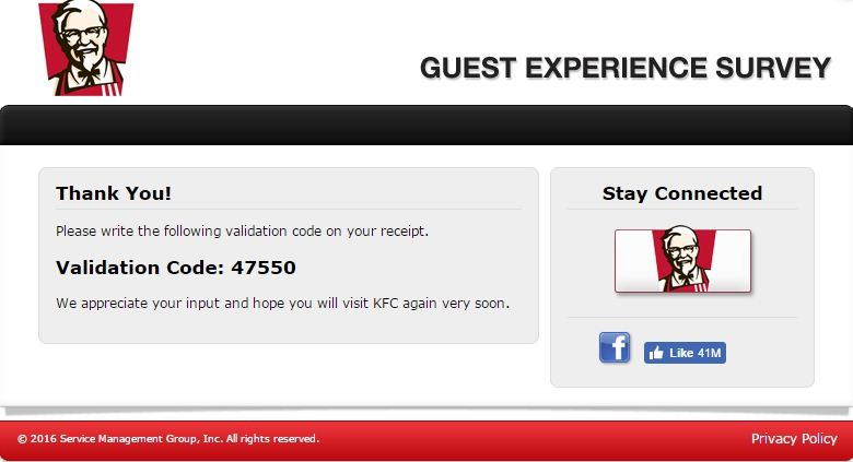 KFC Guest Experience Survey Rewards