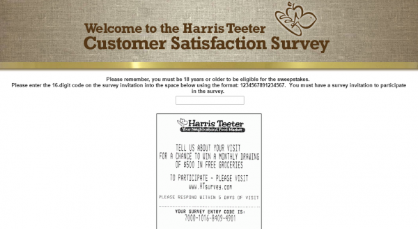 Harris Teeter customer Survey