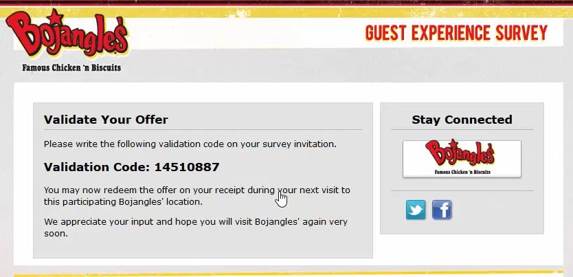 bojangles validation code